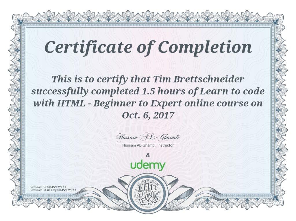 HTML Zertifizierung Tim Brettschneider VOLL GmbH