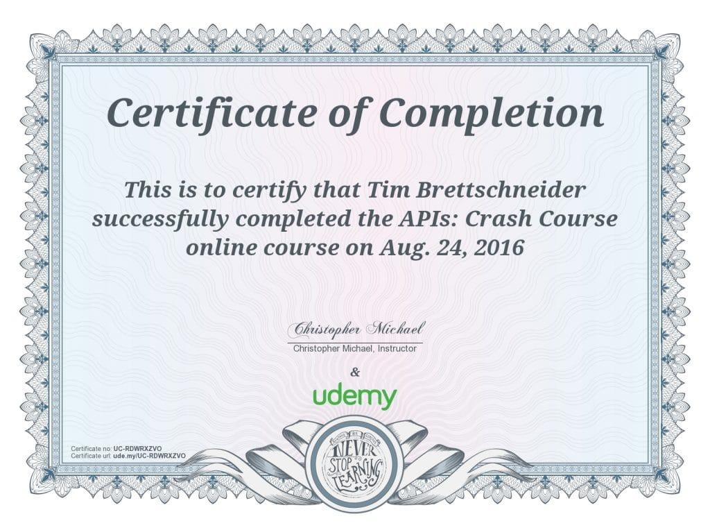 Zertifikat API Crash Course Tim Brettschneider VOLL GmbH