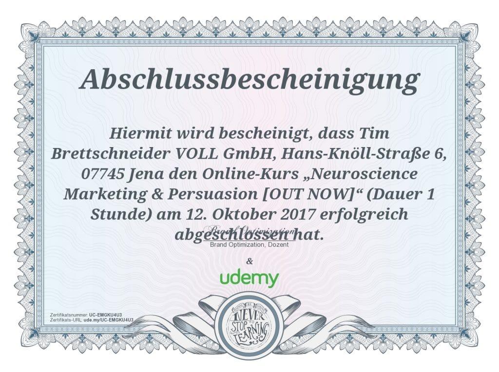 Zertifikat Neuro Science Tim Brettschneider