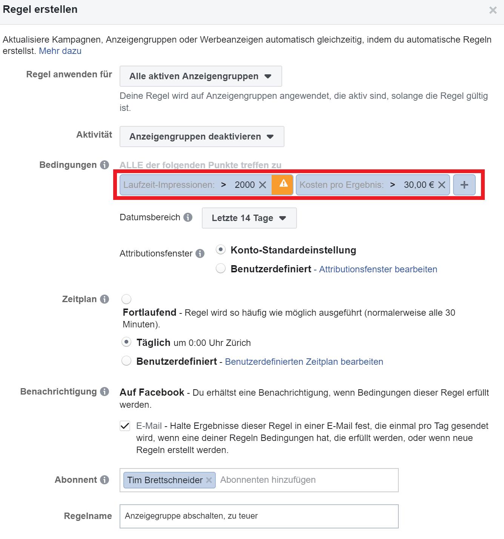 FB Ads Automatische Regel zu teuer